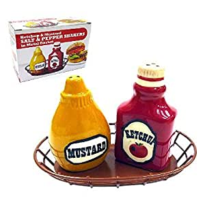 Salt and Pepper Shaker-Ceramic Ketchup & Mustard Shaped Salt & Pepper Shakers, 1 Set