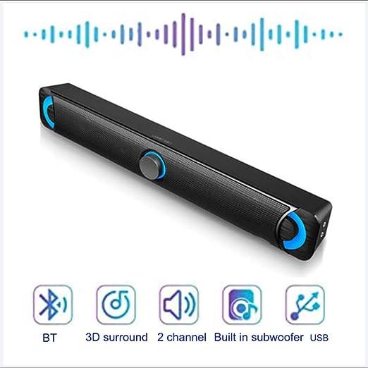 LAHappy Barra De Sonido 2.0 Canales para TV, Subwoofer Inalámbrico Mini Soundbar Portátil Bluetooth (Soporte Conexiones Óptico/RCA/Coaxiales/DSP): Amazon.es: Hogar