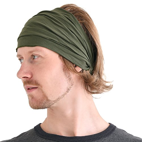 Casualbox mens Head cover Band Bandana Stretch Hair Style Japanese Khaki