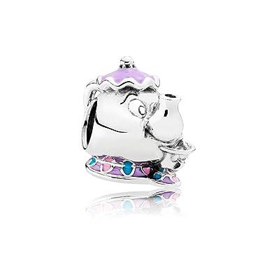 6a52b2a8f Amazon.com: Pandora Disney Mrs. Potts and Chip Mixed Enamel Blue Sterling  Silver Charm - Pendant - 792141ENMX: Jewelry