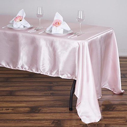 (Efavormart 60x126 Rectangle Blush Wholesale Satin Tablecloth Banquet Linen Wedding Party Restaurant Tablecloth)