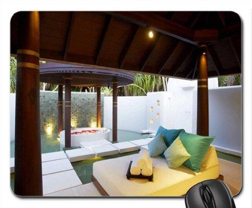 Diseño de casetas de playa Spa Maldivas Anantarra Kihavah alfombrilla para ratón, Mousepad (playas