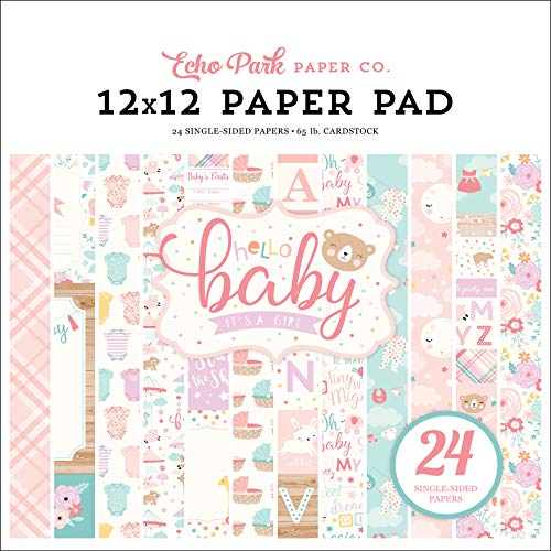 Echo Park Paper Company Hello Baby Girl 12x12 Pad Paper Pink, Teal, Yellow, Purple, Orange -