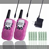 Kids Walkie Talkies Rechargeable Long Range Children Walky Talky Walkie Talkie 2 Way Radios Wireless with Rechargeable Batteries and Charger (Pink)