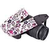 DSLR / SLR Camera Neck Shoulder Belt Strap - Wolven Cotton DSLR/SLR Camera Neck Shoulder Belt Strap for Nikon Canon Samsung Pentax Sony Olympus or Other Cameras - Purple Flower