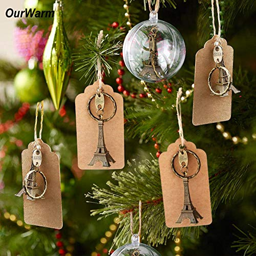 Decorations Wedding Decoration Christmas 50pcs Alloy Keychain Rings with Tags Modern DIY Party Favors for Wedding Decoration Supplies Christmas Tree Decorations for Home ()