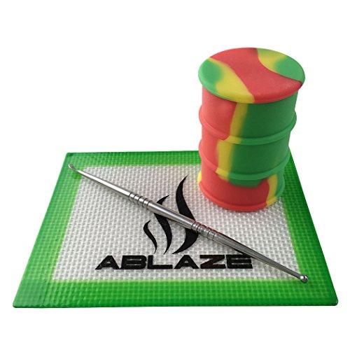 ABLAZE Rasta Dab Nonstick Non Stick Oil Drum Barrel Wax Silicone Mat Pad Container Jar Tool Kit