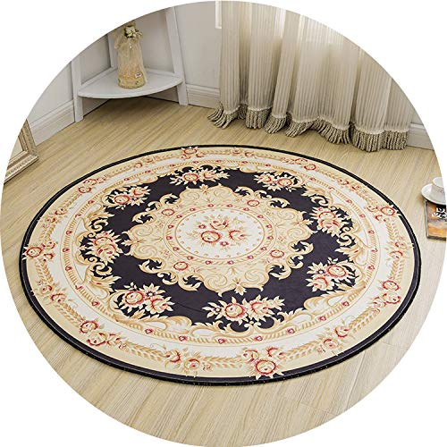 (Round Jacquard Countryside Carpets for Living Room Flower Bedroom Rugs and Carpets Computer Chair Floor Mat Cloakroom Area Rug,5,120cm Diameter)