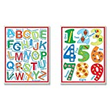 The Kids Room by Stupell 2 Piece Letters and Numbers Wall Plaque Set, Primary Colors
