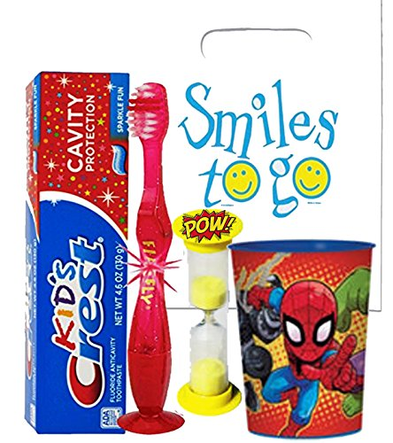 Marvel Super Hero Adventures 4pc Bright Smile Oral Hygiene Bundle! Light Up Toothbrush, Toothpaste, Brushing Timer & Mouthwash Rise Cup! Plus Dental Gift Bag & Remeber To Brush Visual Aid!