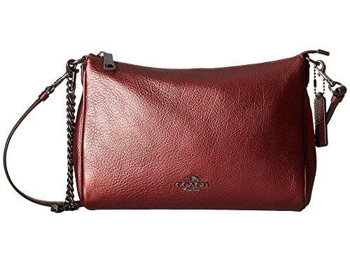 (COACH Women's Leather Carrie Crossbody Metallic Cherry One Size)