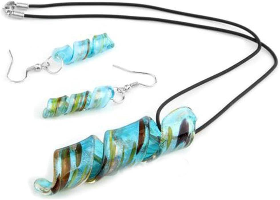Set Collar Pendientes Colgante Cristal de Murano Azul Fiesta