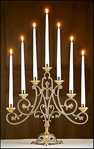 Stratford Chapel Brass Ave Maria Candelabra, 14 1/2 Inch by Stratford Chapel