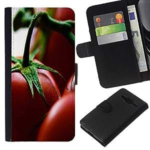KingStore / Leather Etui en cuir / Samsung Galaxy Core Prime / Planta Naturaleza Forrest Flor 76
