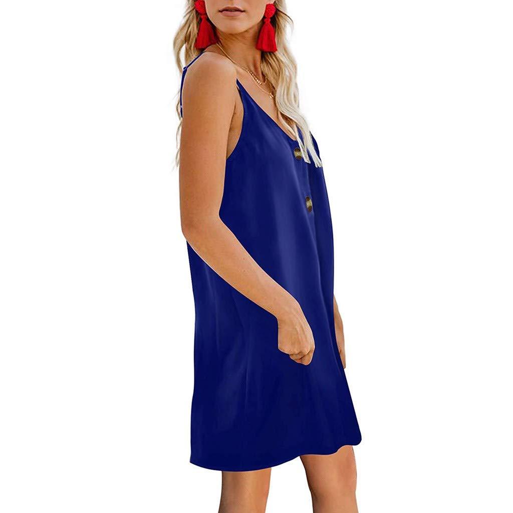 Nihewoo Womens Dress Summer Spaghetti Strap Sundress Button Up Dresses Cocktail Formal Swing Dress Sleeveless Evening Dress