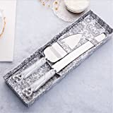 #5: Cake Knife Server Set with Fashion craft Baroque,Interlocking hearts design, Elegant Stainless Steel Silverware For Personalized Weddings, Birthdays, Anniversaries