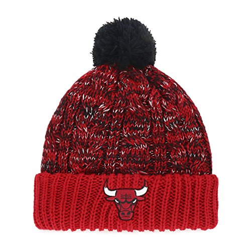 NBA Chicago Bulls Women's Brilyn OTS Cuff Knit Cap with Pom, Red, Women's