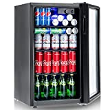 Costway 120 Can Beverage Refrigerator and Cooler Mini Fridge with Glass Door for Soda Beer or Wine Small Drink Dispenser Machine for Office or Bar (120-Can)