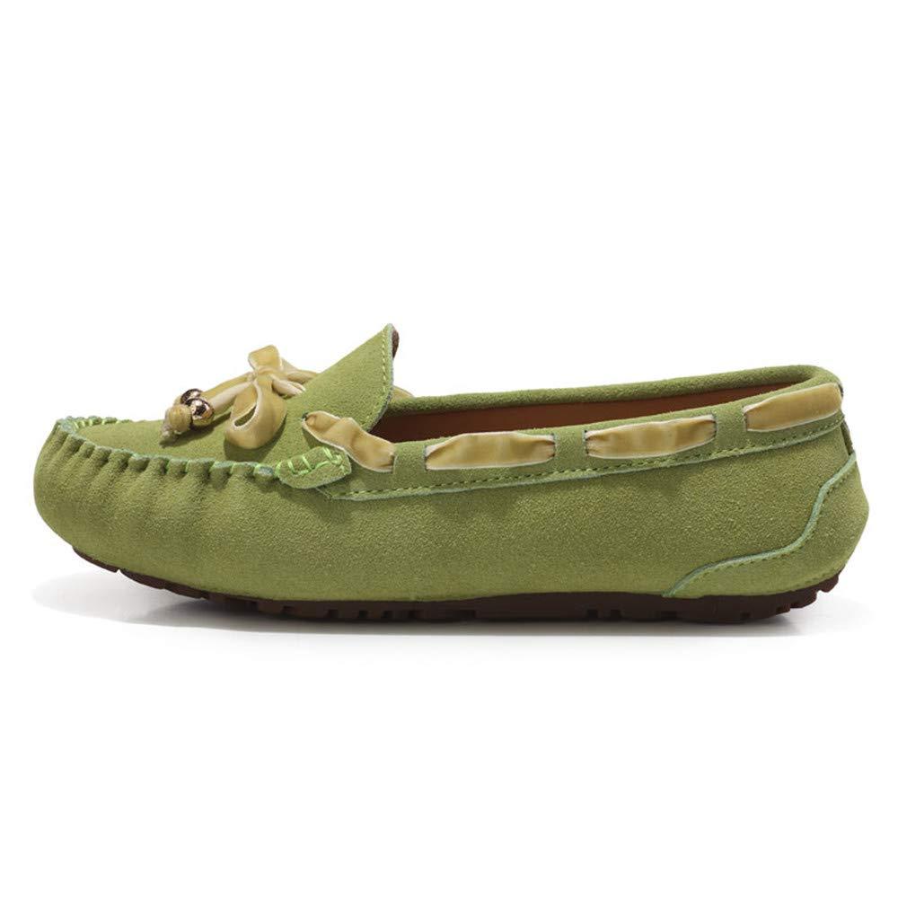 Sunny&Baby Penny Driving Loafer Gamuza Cuero Genuino Señora Casual Mocasines Barco Zapatos de Vestir Antideslizante (Color : Verde, tamaño : 37 EU): ...