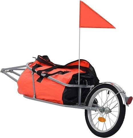 vidaXL Remolque Bicicleta Carga Bolsa Impermeable 1 Bandera + 2 ...
