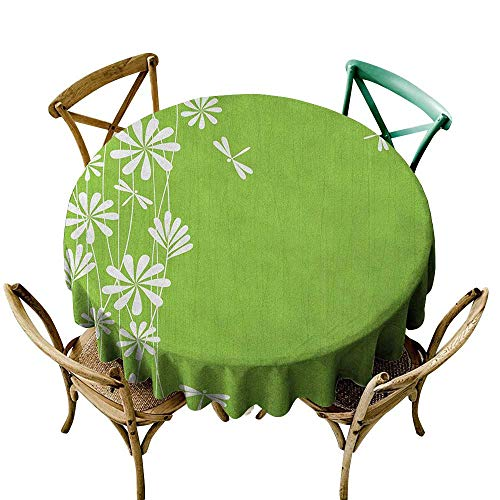 (Wendell Joshua red Tablecloth 60 inch Dragonfly,Flower Petals Spring Motif Childish Growth Nature Seasonal Graphic Art, Lime Green White Printed Indoor Outdoor Camping Picnic Circle Table Cloth)