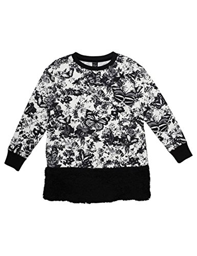 Replay Girls Black Dress With All Over Print And Faux Fur in Size 12 Years Black by Replay