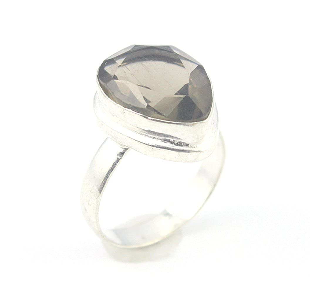 BEST QUALITY SMOKY QUARTZ FASHION JEWELRY .925 SILVER PLATED RING 8 S23986