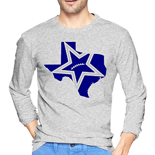 MiiyarHome Men's Long Sleeve T-Shirts Tony ROMO, Men Long Sleeves Jersey Causal Tee Gray XXL