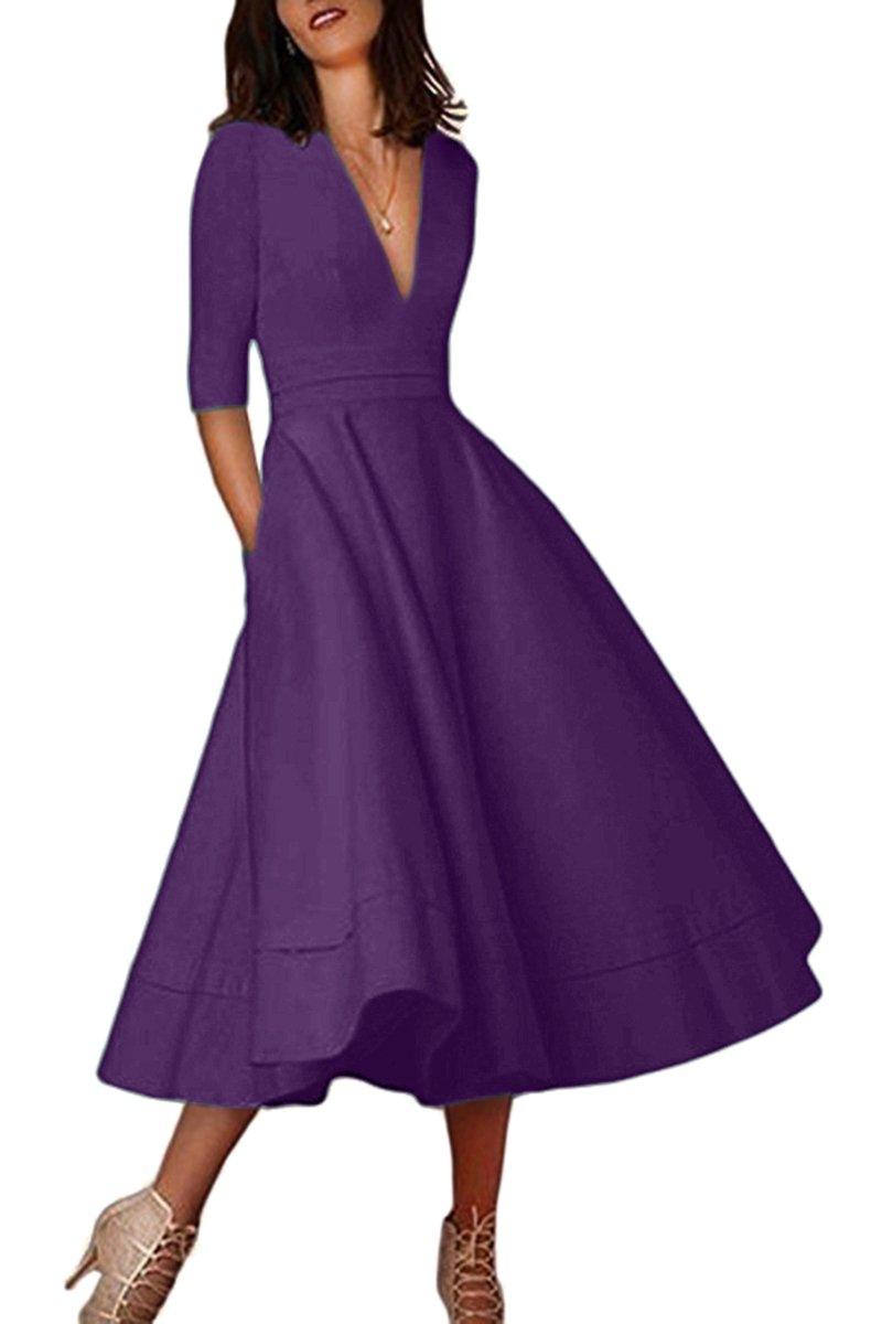 YMING Women's Vintage 1950s Long Dress Solid Color Swing V Neck Dress Dark Purple 3XL by YMING