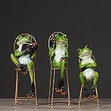 BWLZSP 1 SET(3pcs) Pastoral creative model decoration home living room desktop frog decoration animal handicrafts frog ornaments AP5291525 (Color : Sit  about)