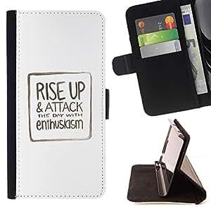 For Samsung Galaxy S6 Case , Texto Minimalista Blanca motivación- la tarjeta de Crédito Slots PU Funda de cuero Monedero caso cubierta de piel