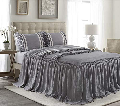 (HIG 3 Piece Ruffle Skirt Bedspread Set King-Gray Color 30 inches Drop Ruffled Style Bed Skirt Coverlets Bedspreads Dust Ruffles- Emma Bedding Collections King Size-1 Bedspread, 2 Standard Shams)