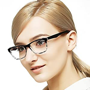 OCCI CHIARI Women Rectangle Double Color Fashion Eyewear Frame Clear Lens Glasses Mann (Black, 53-15-140)
