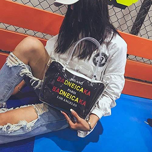 Mensajero Para Asas De Hombro Salvaje Cubos Moda Con Cremallera Bolsos Cremalleras Mujer Transparentes El Só Cubiertas Negro Iwn0Ex01T