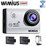 "WiMiUS Q2 Waterproof Dash Camera 1080P 12M WiFi Sports Camera with 2.0"" LCD Screen 170º Wide Angle Lens 30-in-1 Kit Set for Outdoor Sports and Home Security(Sliver) Action Cameras WiMiUS®"