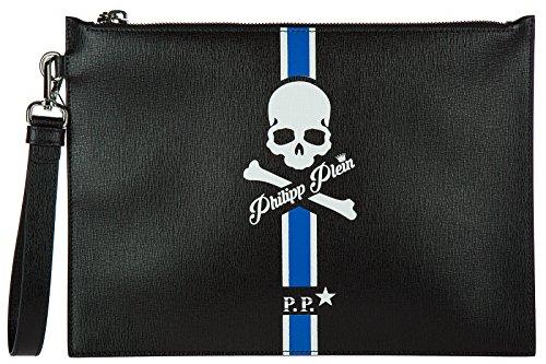 Herren Handgelenktasche Leder Kingstone Plein Tasche Blu nZkwXN80PO