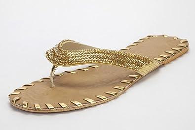 ff2675e8b4 Rinaldi Designs Women's Gold Flat Chappal with Gold Mirror Work Size -11