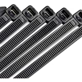 10 Inch Heavy Duty Nylon Cable Ties, 100 Pounds Tensile Strength, 100 Pieces, Zip Ties with 0.24 Inch/6mm Width in Black By Flurhrt, Indoor and Outdoor UV Resistant