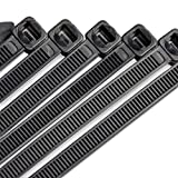 zip ties black - 10 Inch Heavy Duty Nylon Cable Ties, 100 Pounds Tensile Strength, 100 Pieces, Zip Ties with 0.24 Inch/6mm Width in Black By Flurhrt, Indoor and Outdoor UV Resistant