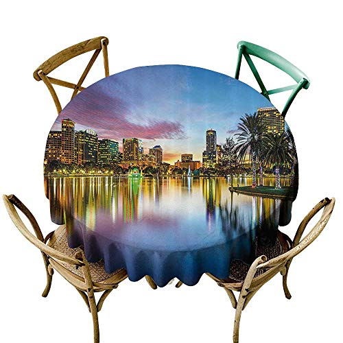 Water Resistant Table Cloth Wide Tap Famous USA Urban Downtown View of Orlando Florida from EOLA Lake Romantic Scene Resistant/Spill-Proof/Waterproof Table Cover 67 INCH Blue -