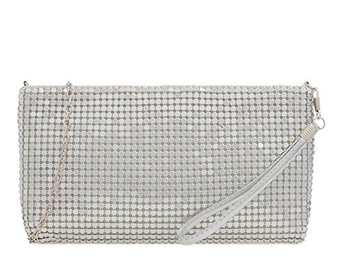 Strap Wristlet Chainmail Bag Silver up Make Wrist Chain Pouch Ladies S7x6Eq