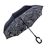 NewSight Reverse/Inverted Double-Layer Waterproof Straight Umbrella, Self-Standing & C-Shape Handle & Carrying Bag for Free Hands, Inside-Out Folding for Car Use (Newspaper)