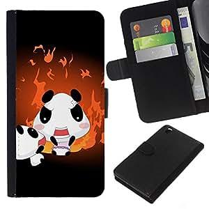 KLONGSHOP // Tirón de la caja Cartera de cuero con ranuras para tarjetas - Familia linda de la panda - HTC DESIRE 816 //