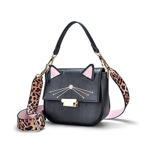 Shoulder à Cat Womens PU Casual Main Sac Mignon Strap Black DHFUD Bandoulière Bag EfXwXq
