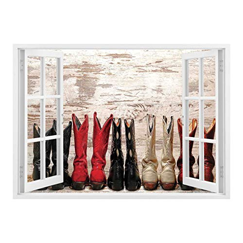 SCOCICI Wall Mural, Removable Sticker, Home Décor/Western,American Legend Cowgirl Leather Boots Rustic Wild West Theme Folkart Print,Beige Red Black/Wall Sticker Mural