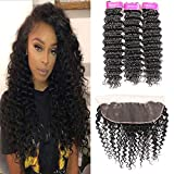 Brazilian Virgin Hair Deep Wave 3 Bundles with Lace Frontal (22 24 26+20) Virgin Human Hair Bundles Unprocessed Natural Color with Free Part Frontal