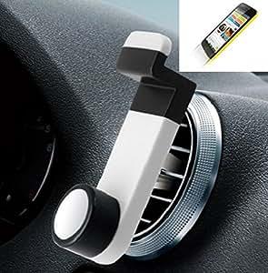 Smartphone universal Holder Holder / Car montaje / parabrisas para el Wiko Birdy 4G. blanco. Titular de teléfono de la rejilla de ventilación se puede utilizar con los teléfonos inteligentes y las tabletas de 5.2 cm - 9,4 cm de ancho. Titular Smartphone ventilación Teléfono móvil Holder Soporte para coche Rejilla de ventilación Air Vent Monte ranura de ventilación Holder, envío de Alemania en un día laborable