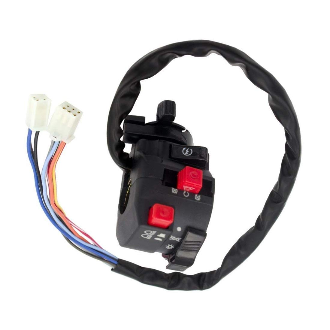Minireen 5-Function 9 wire Chinese ATV Left Switch Assembly Kill Start Light Choke Switch for 150cc 200cc 250cc 300cc ATVs