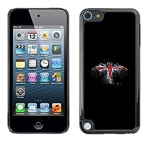 Caucho caso de Shell duro de la cubierta de accesorios de protección BY RAYDREAMMM - Apple iPod Touch 5 - Reino Unido Bandera del Grunge