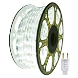 Outdoor Led Rope Strip Lights Indoor 114ft 35m Daylight White 1260LEDs Decorative Waterproof String Lighting Decorative Plug in 110V Connectable Cuttable Flexible 8A Fuse Holder Powered Mounting